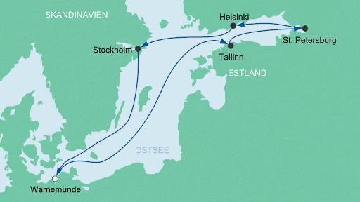 Kreuzfahrt - AIDAmar Ostsee Route - Wanrmünde, Tallinn, St.Petersburg, Helsinki, Stockholm