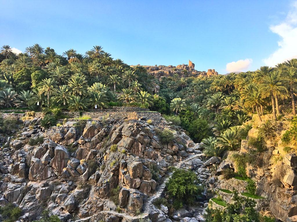 Oman Reiseroute - Misfat al Abriyeen - Palmen Plantagen traditionell