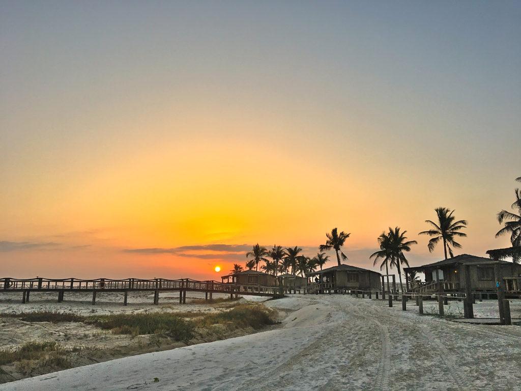 Oman Reiseroute - Salalah - Souly Eco Lodge Sonnenuntergang