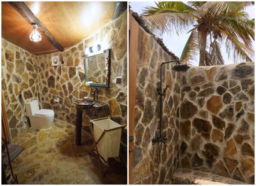 Souly Eco Lodge - Salalah Strandhotel - Bungalow Badezimmer Innen Außendusche